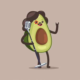 Avocado rock star  cartoon funny fruit character with microphone isolated on background.