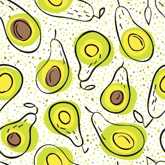 Avocado  seamless pattern in hand-drawn style. natural, organic and healthy food.