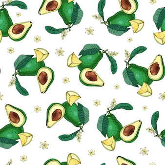 Avocado seamless pattern