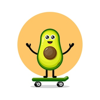 Avocado skateboard cute character logo