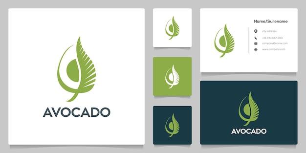 Avocado slice leaf logo design simple illustration
