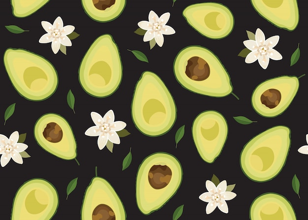Avocado sliced seamless pattern with flower