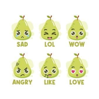 Набор смайликов для социальных сетей авокадо