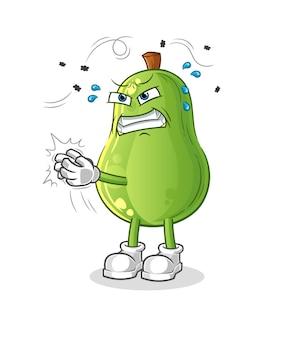 Авокадо сват характер мухи. мультфильм талисман вектор