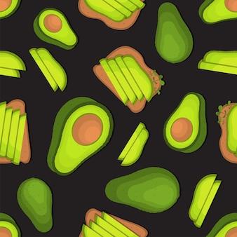 Avocado toast for breakfast pattern illustration