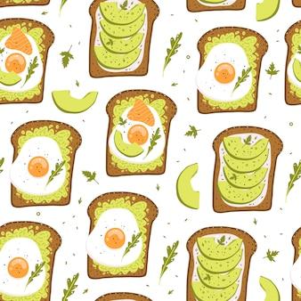 아보카도 토스트. 귀여운 완벽 한 패턴입니다. 건강한 아침 식사.