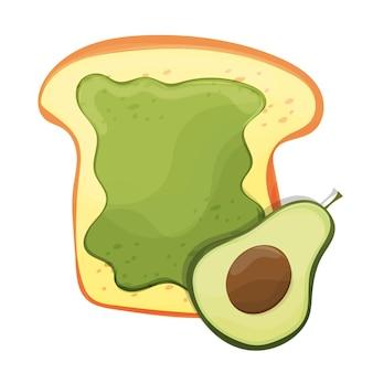 Тост с авокадо. свежий поджаренный хлеб с авокадо. вкусный бутерброд. векторная иллюстрация.