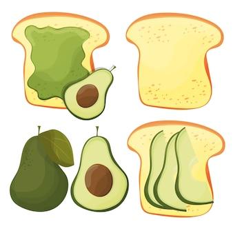 Тост с авокадо - векторный набор. свежий поджаренный хлеб с авокадо. вкусный бутерброд