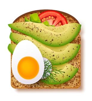 Avocado toast with fresh slices of ripe avocado