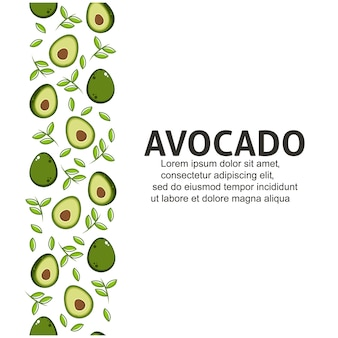 Avocado with leaves in flat design