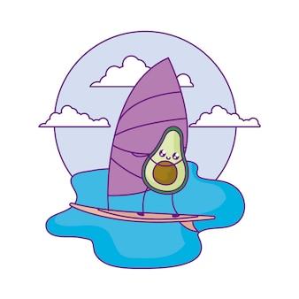 Avocado with sailboat in sea kawaii style