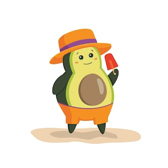 Avocados on the beach avocado character with ice cream hat standing on the beach