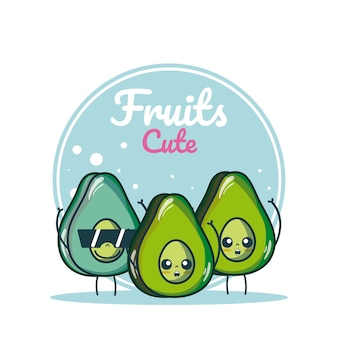 Avocados cute fruits cartoons