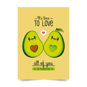 Avocados love illustration