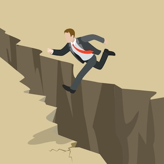 Avoid business problem trouble overcome obstacle crisis risk concept flat 3d web