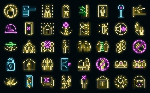 Избегайте контакта иконки набор векторных неоновых