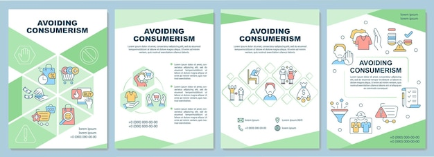 Avoiding consumerism brochure template. stop excessive consumption. flyer, booklet, leaflet print, cover design with linear icons. vector layouts for presentation, annual reports, advertisement pages