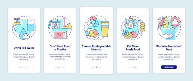개념이있는 모바일 앱 페이지 화면 온 보딩 미세 플라스틱 팁 방지