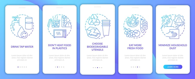 Avoiding microplastics tips onboarding mobile app page screen with concepts
