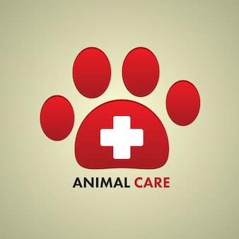 Aw print and cross sign for animal care symbol.