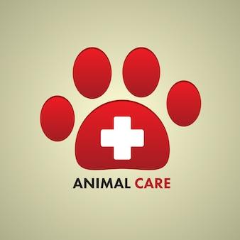 Awプリントと動物のケア記号のための十字サイン。
