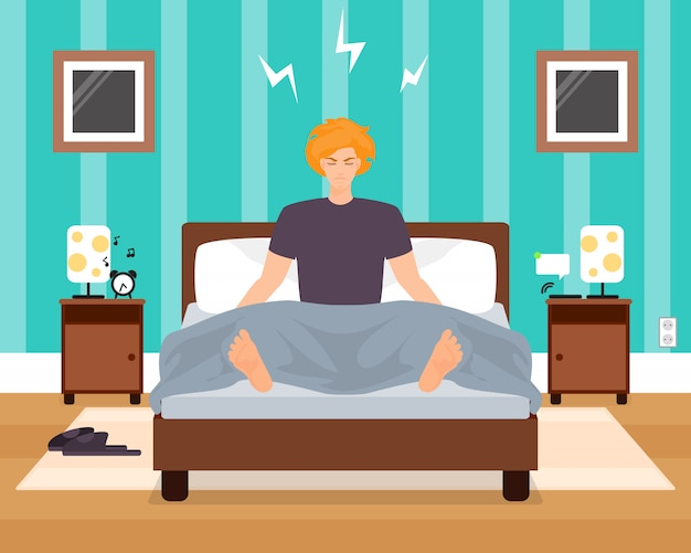 Awaking in bad mood young man vector illustration. boy listening to alarm clock while sitting in bed with eyes closed. bedroom interior. flat style design.