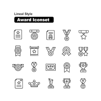 Award and achievement icons collection  lineal style