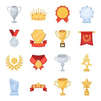Награда и трофей мультфильм установить значок. изолированный шарж установил чашку победителя значка. иллюстрация награда и трофей.