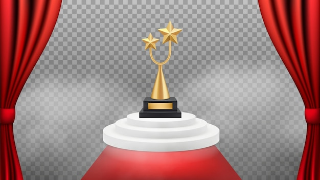 Фон премии. золотой трофей на белом подиуме и красной ковровой дорожке и шторах. реалистичный отмеченный наградами фон. vip-событие знаменитости, иллюстрация триумфа и успеха
