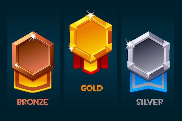 Наградной значок игровых ресурсов, пустой медальон с лентой для пользовательского интерфейса.