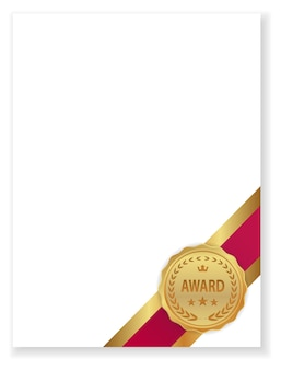 Award badge icon on certificate isolated