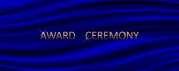 Award ceremony banner with blue silk background