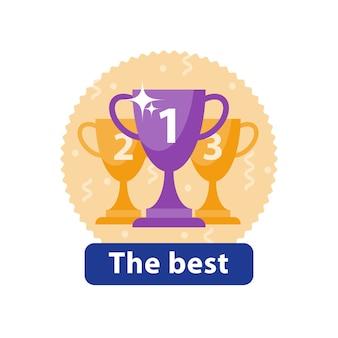 시상식, 1 등상, 높은 업적, 최고의 성능, 대회 결승, 반짝이는 그릇, 아이콘, 평면 그림
