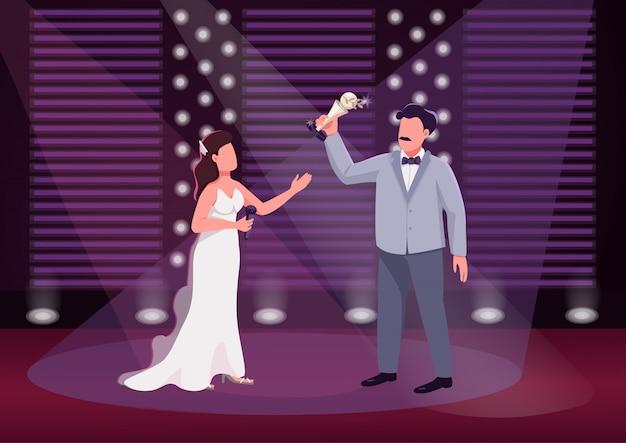 Award ceremony flat color illustration