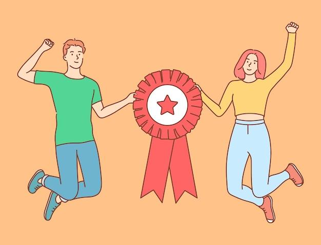 受賞者の表彰式。幸せな成功したチームジャンプ