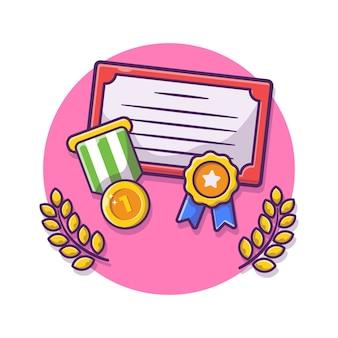 賞状と金メダルの漫画イラスト。受賞歴のあるチャンピオンの金のトロフィー。