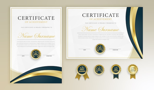 Award certificate diploma template set with badges