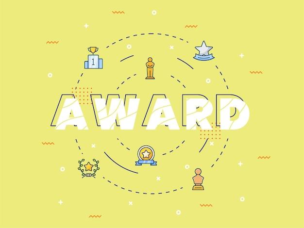 タイポグラフィ書道レタリングワードアートと賞のコンセプト