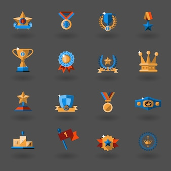Award flat icons set