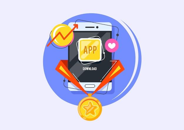 Награда за лучшее приложение. приз в онлайн-заявке. творческий значок сети.