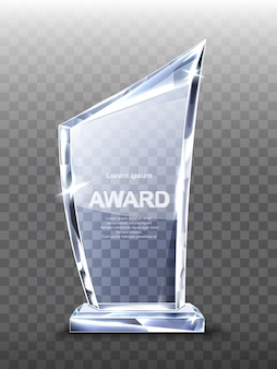 Award glass trophy on transparent