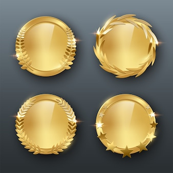 Award golden blank medals realistic color illustration on gray background