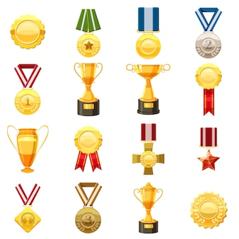 Award icons set, cartoon style