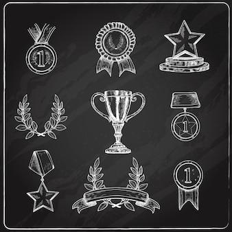 Award icons set chalkboard