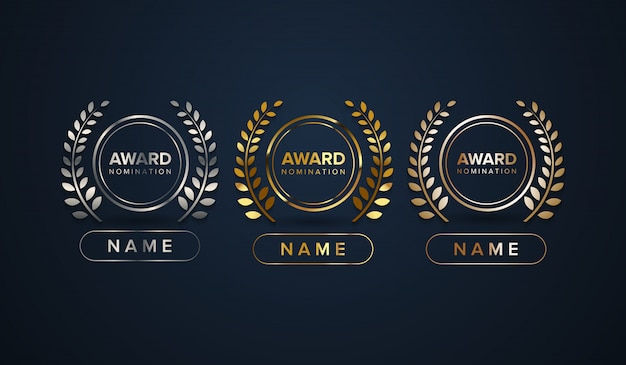 Award logo type set with name column