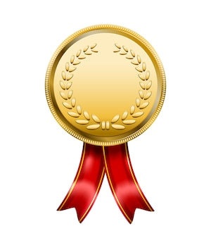 Award medal with red ribbon