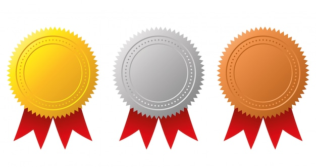 Award medals-gold, silver and bronze.