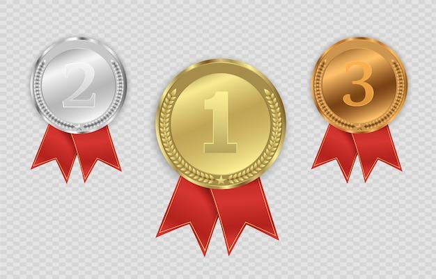 透明な背景に分離されたメダルを受賞します。勝者の概念図。
