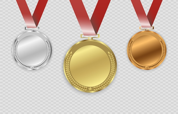 Наградные медали, изолированные на прозрачном фоне. иллюстрация концепции победителя.