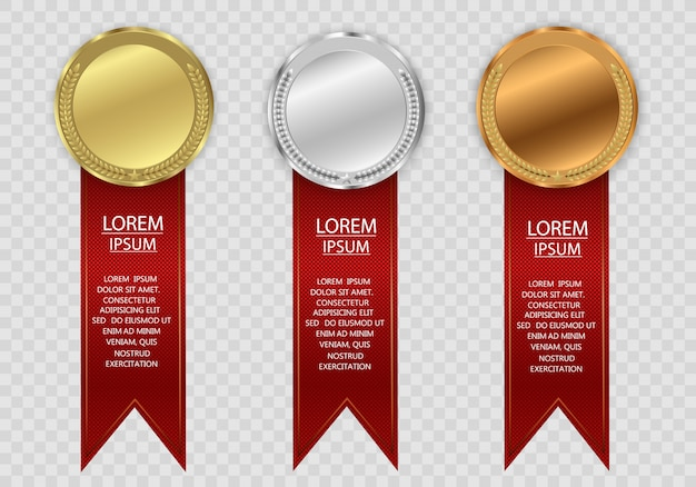 Award medals isolated on transparent background.